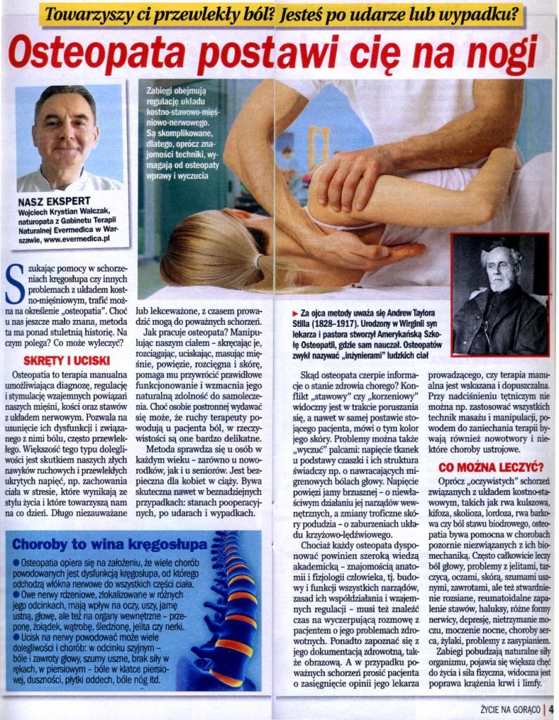 Życie na gorąco - Osteopatia Wojciech Krystian Walczak
